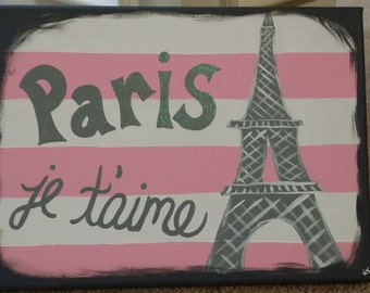 Pairs Je t'aime Hand Painted Canvas - Paris Artwork, Paris Decor, Pink and Grey, Girls Bedroom, Girly Decor