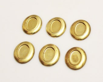 Oval Brass Blanks, Geometric Findings, Vintage Jewelry Components (FDS-99)