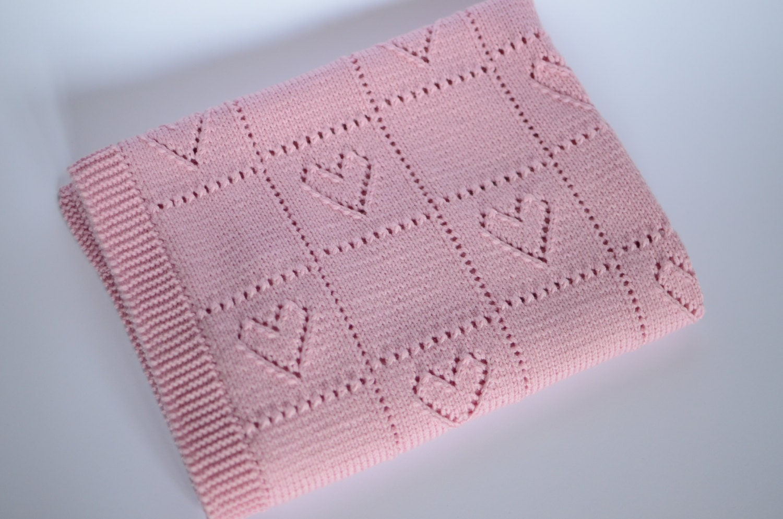 Hand Knitting Merino Wool Blanket : Hand knitted baby girl blanket merino wool by belovedlt