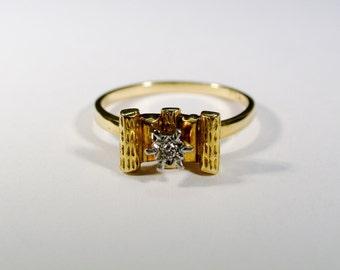 Vintage 18ct Yellow Gold Diamond Ring