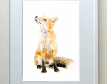 Sitting fox, animal art, fox watercolor, watercolor painting, animal watercolour, fox print
