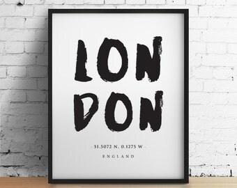 Location Print, London Art, London Print, Urban Art, Travel Poster, London Poster, Black and White Art Home Decor Wall Art