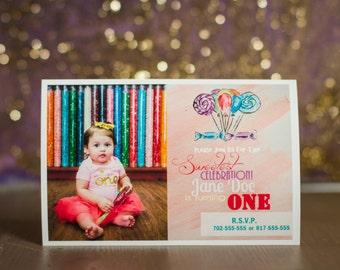 Custom Candy Themed Birthday Invitation