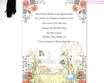 Playful Alice in Wonderland Baby Shower Tea Party Invitation