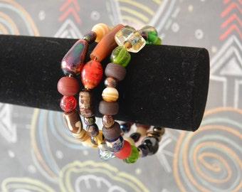 Assorted Glass Bead Wrap Bracelet - Memory Wire Wrap Bracelet