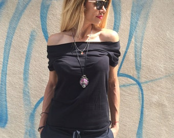 Black Cotton Maxi Blouse, Women's Top Plus Size, Fashion T-shirt, Casual Top With Short Sleeve by SSDfashion