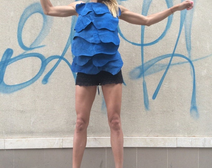Blue Leather Sexy Top, Extravagant Oversize Tunic, Loose Blue Top, Casual Party Top by SSDfashion