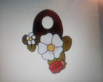 machine embroidery Ladybug flower wall hanging