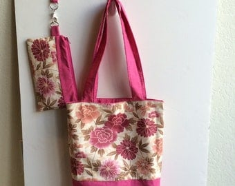 Beautiful Flower Themed Handbag with matching Wristlet (Mother's Day Gift)