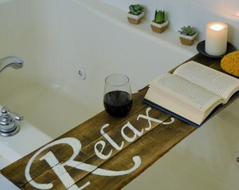 Bathtub Tray with painted words to double as Wall Hanging or Bathing Board