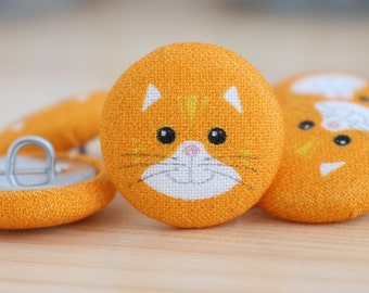 Fabric Covered Buttons - Cat on Orange - 6 Medium Fabric Buttons