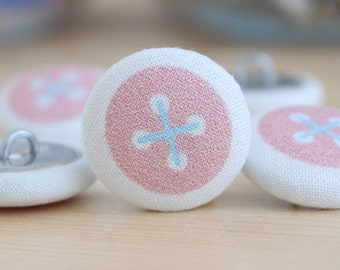 Fabric Covered Buttons - Baby Pink Button on White - 6 Medium Fabric Buttons