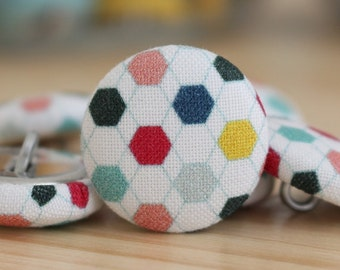 Fabric Covered Buttons - Geometric III - 6 Medium Fabric Buttons