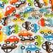 Cotton Fabric Cars -  Orange, Brown, Blue, Green-  Yard, Fat Quarter