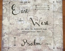 """12""""X12"""" Hand-lettered Quote--As Far As East is from West--Gold-Lettered Typography--Biblical Quote"""