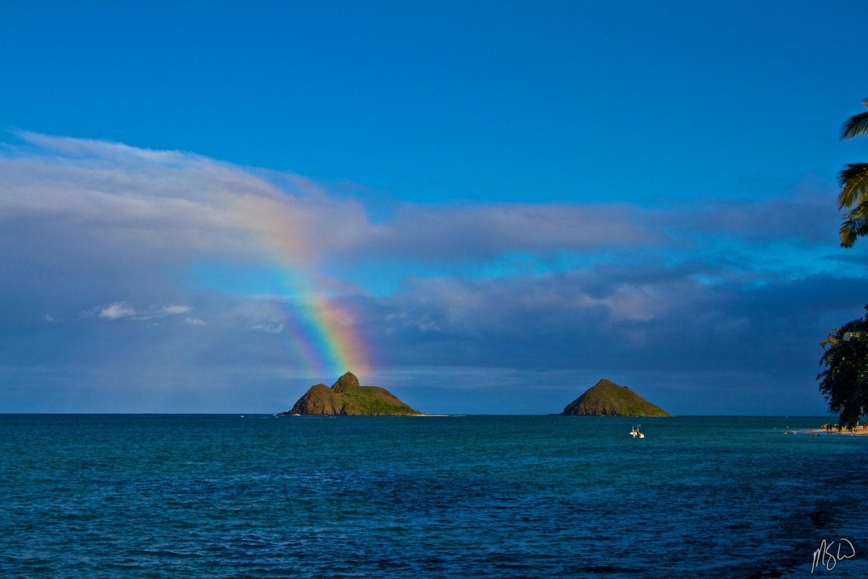 Na Mokulua Hawaii: Rainbow Mokulua Lanikai Art Metal Print Hawaii By MichaelSwebb