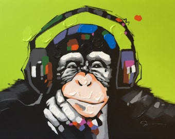 "24"" x 36"" Colorful Abstract Monkey With Headphones - Hand Painted Oil on Canvas - Ready for Framing or Hanging"