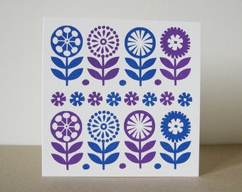 Blank Greeting Card, Hand Screen Printed, Blue, Purple, Scandinavian Flower