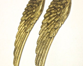 1 Large Wing Brass, Antique Gold Plated Left Only