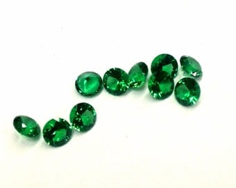 5 Pieces of Synthetic Emerald Spinel, 4mm, Vintage, Pointed Back Chaton