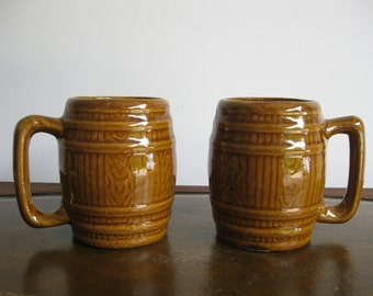 Set of two pottery Barrel- shaped Mugs