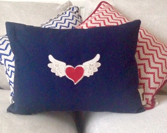 Navy Winged Heart Cushion Cover