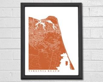 Virginia Beach Map Art - Map Print - Custom Map - Home Decor - Anniversary Gift - Home Map - Map Art - Virginia Beach Map