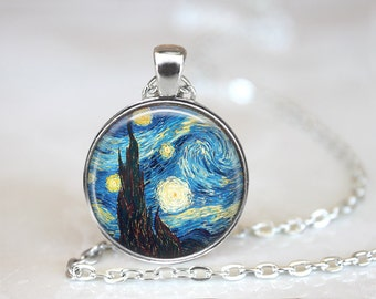 Starry Night Necklace Starry Night Jewelry Vincent Van Gogh Jewelry Vincent Van Gogh Nekclace Starry Night