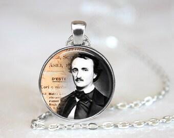 Edgar Allan Poe Necklace, Edgar Allan Poe Jewelry, Poet Necklace, Poet Jewelry