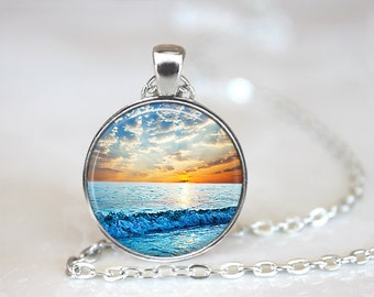 Beach Jewelry, Nautical Jewelry, Ocean Jewelry, Sunset Necklace