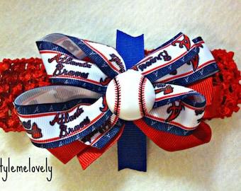 Atlanta Braves Baby girl Boutique Bow Crocheted Headband