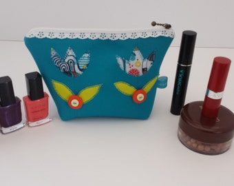 Appliqued Makeup bag /Pencil case