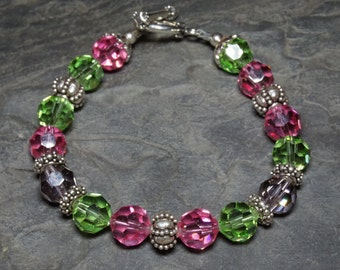Pink, Green and Grey Swarovski Crystal and Sterling Silver 8.5 Inch Bracelet