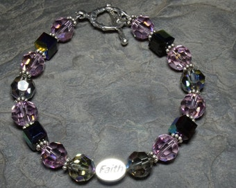 Faith Sterling Silver and Swarovski Crystal 8.75 Inch Bracelet