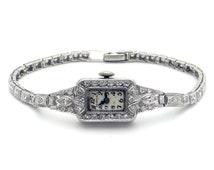 Perraux Vintage Deco Platinum 1.21ct Diamond Bracelet Watch 17 Jewels Swiss