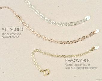 Attached extender, removable extender, necklace lengthener, gold chain extender, gold extender chain, extender rose gold