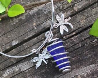 Cobalt Blue Sea Glass Bracelet.  Sea Glass from Italy.  Item no. 3008