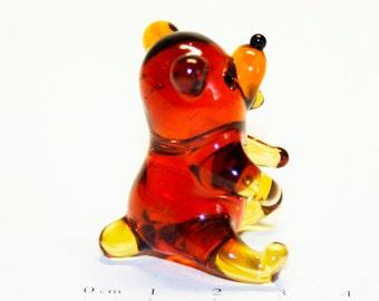 Glass figurine Ted Bear handmade One of a kind #408