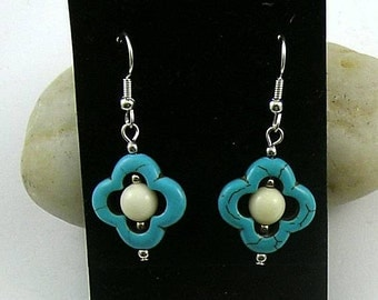 Half Price! Lucky Turquoise Quadrafoil and Bone Earrings - Tribal Native American