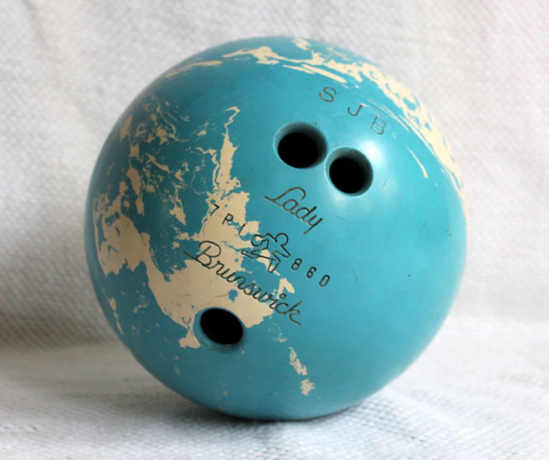 Lady Brunswick Bowling Ball 15 Lbs Blue White Marble Vintage