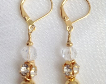 Triple Tier ~ Crystal Clear Asfour and Gold Earrings
