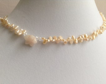 929 Sterling Silver ~ Pretty Peachy Flower ~Freshwater Pearl,  Crystal and Gemstone Necklace