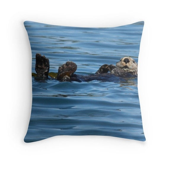 Ocean Animal Pillows : Sea Otter Pillow Cover Animal Pillow Cover by GriffingHomeDecor