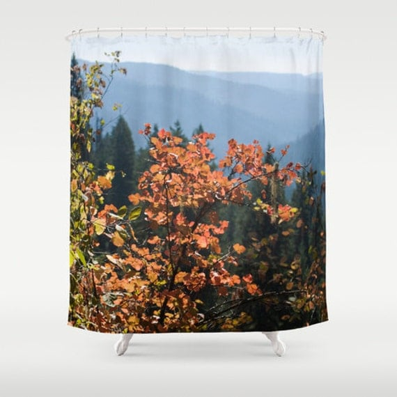 Items similar to fall leaves shower curtain tree shower for Fall bathroom sets