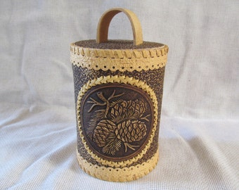 "Birch Bark Beresta Art Barrel Tues Box ""PINECONES"" Natural Kitchen Storage! Big"