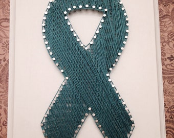 Angela Ovarian Cancer Ribbon String Art