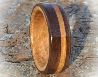 Wooden Rings from Golden Oak and Chocolate Brown Walnut