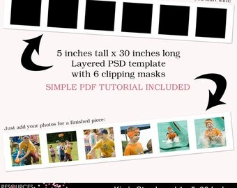 Storyboard Template 1 - 5x30 Inches, layered photoshop template for professional photographers, digital instant download, PSD file