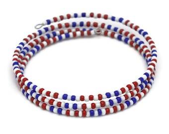 US Patriotic Jewelry - July 4th USA Bracelet - Patriotic Boho Bracelet - American Patriotic Gifts - Stackable Beaded Bracelets for Women