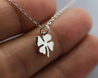 FOUR LEAF CLOVER Necklace - 925 Sterling Silver Luck Lucky Shamrock Cutout New